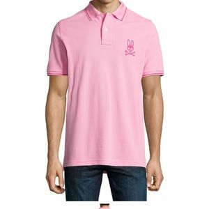 PSYCHO BUNNY | Pink Contrast Mens Polo 6 or Large